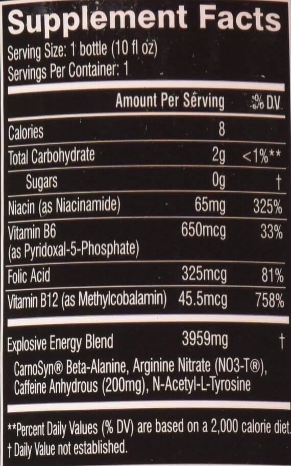 C4 on the Go nutrition facts